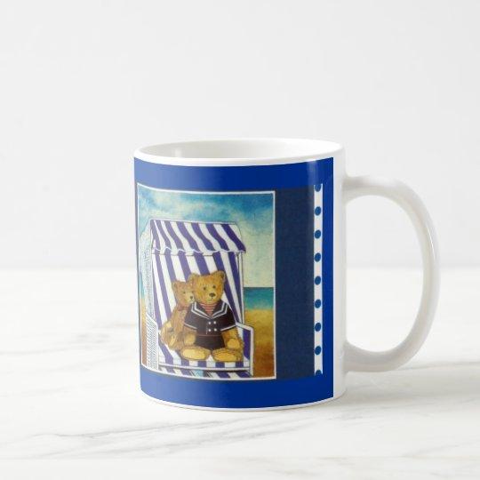 "Becher Aquarell-Motiv ""Teddys im Strandkorb"" Kaffeetasse"