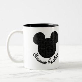 Becher Autistischer Stolz Mickey Puzzle II Zweifarbige Tasse