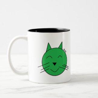Becher Grüne Katze By SCHAUFEL Zweifarbige Tasse