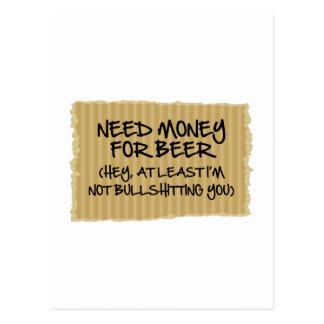 Bedarfs-Geld für Bier Postkarte