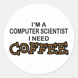 Bedarfs-Kaffee - Informatiker Runder Aufkleber