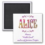 Bedeutung von Alice-Magneten Kühlschrankmagnet