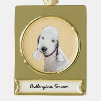 Bedlington Terrier 2 Malerei - ursprüngliche Banner-Ornament Gold