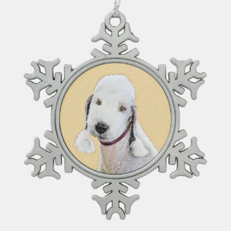 Bedlington Terrier 2 Malerei - ursprüngliche Schneeflocken Zinn-Ornament