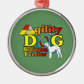Bedlington Terrier-Agility Silbernes Ornament