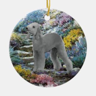 Bedlington Terrier Sommer-Garten-Kunst Keramik Ornament