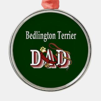 Bedlington Terrier Vati Silbernes Ornament
