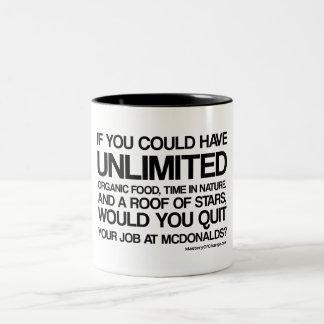 beendigen Sie Ihren Job?? Zweifarbige Tasse