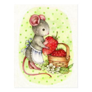 Beere köstlich - niedliche Mäusekunst-Postkarte Postkarte