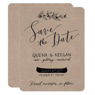 Beere und Kanu Save the Date - Quena und Keegan Karte