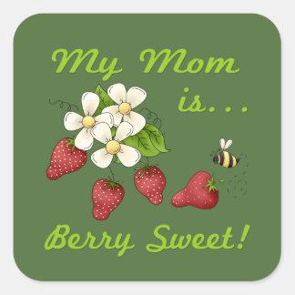 Beeren-Bonbon-Mamma Quadratischer Aufkleber