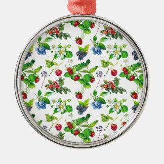 Beeren-Garten-Frühlings-Waldniedliche Hütten-Kunst Silbernes Ornament
