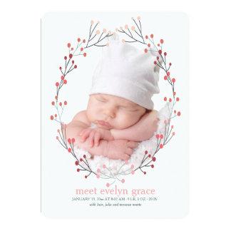 Beeren-Rahmen-Foto-Geburts-Mitteilung Karte