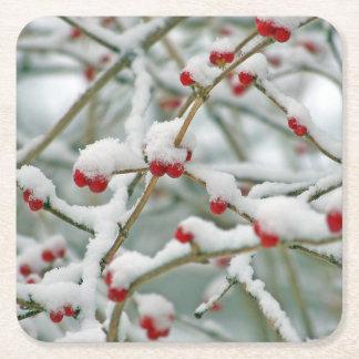 Beeren-Winter-Szene Snowy rote Rechteckiger Pappuntersetzer