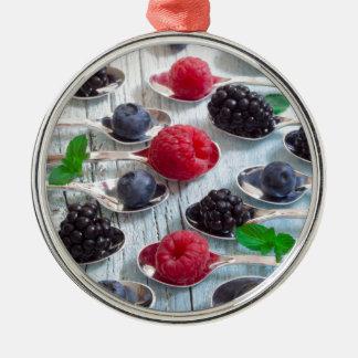 Beerenobst Rundes Silberfarbenes Ornament