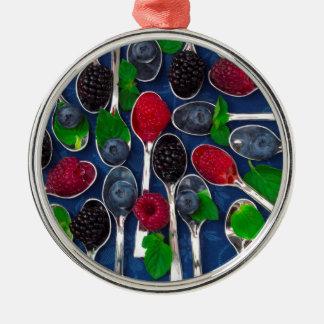 Beerenobsthintergrund Silbernes Ornament