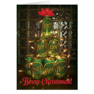 Beery Weihnachten - beleuchtete Bier-Baum-Karte Karte