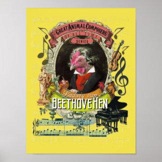 Beethoven-Parodie-Parodie Beethovehen Henne Poster
