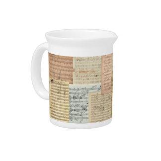 Beethoven und Mozart-Manuskript-Gemisch Getränke Pitcher