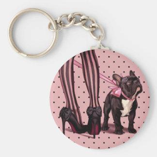 Befestigt an meiner französischen Bulldogge Standard Runder Schlüsselanhänger