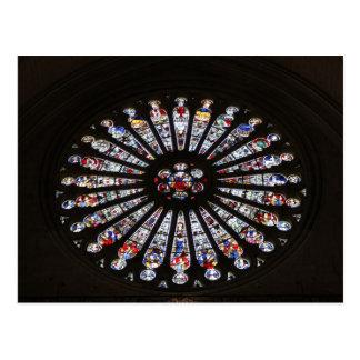 Beflecken-Glas Kirchen-Rosen-Fenster Postkarte