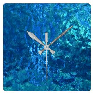 beflecktes blaues Glasmakro Quadratische Wanduhr