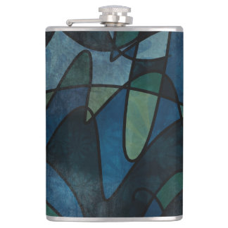 Beflecktes Glas-abstrakte Kunst blaues Flachmann