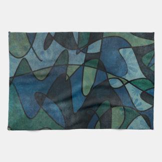 Beflecktes Glas-abstrakte Kunst blaues Handtücher