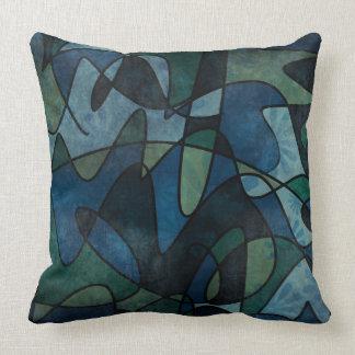 Beflecktes Glas-abstrakte Kunst blaues Kissen