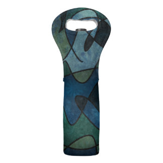 Beflecktes Glas-abstrakte Kunst blaues Weintasche