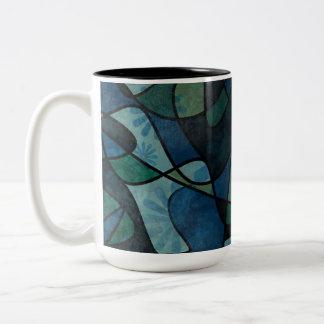Beflecktes Glas-abstrakte Kunst blaues Zweifarbige Tasse