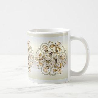 Beflecktes Glas-Blumen-Entwurf im Elfenbein Kaffeetasse