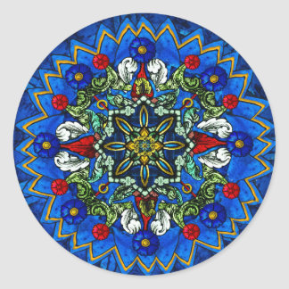 Beflecktes Glas-Rosen-Fenstermandala-Aufkleber Runder Aufkleber