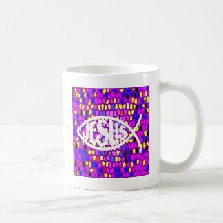 BEFLECKTES GLASfenster JESUS-FISCH-ICHTHYS LILA Kaffeetasse