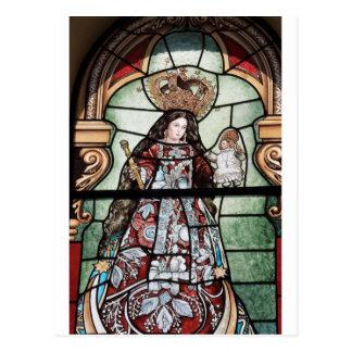 Beflecktes Glasfenster Jungfrau-Mary-Baby Jesuss Postkarte