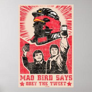 Befolgen Sie das getweeteteTwitterrote Mao-Vogel-P Plakat