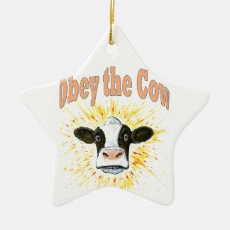 Befolgen Sie die Kuh Keramik Ornament