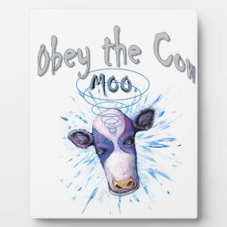 Befolgen Sie die telepathische Kuh Fotoplatte