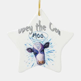 Befolgen Sie die telepathische Kuh Keramik Ornament