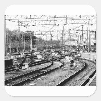 Befördert Weise mit der Eisenbahn Quadratischer Aufkleber