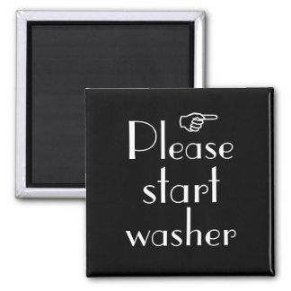 Beginnen Sie bitte Waschmaschinenmagnetschablone Quadratischer Magnet