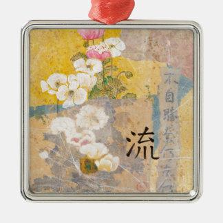 Begonien zum zu fließen quadratisches silberfarbenes ornament