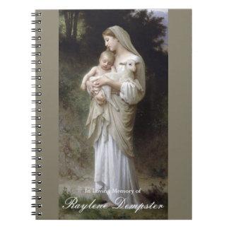 Begräbnis- Erinnerungsgast-Buch-Mary-Unschuld Spiral Notizblock