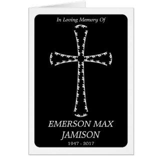 Begräbnis- Mitteilung: elegantes Kreuz Karte