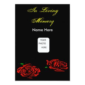Begräbnis- Rosen-Einladungs-Karte 12,7 X 17,8 Cm Einladungskarte