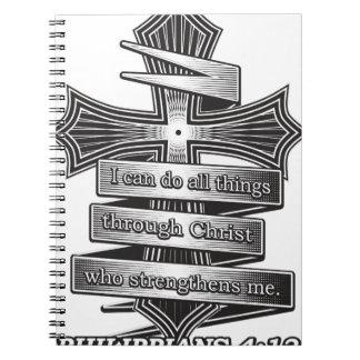 Begrenzte Ausgabephilippians-4:13 christliche Spiral Notizblock
