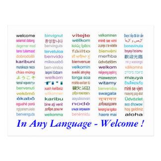 Begrüßen Sie in der 80 Sprachpostkarte Postkarte
