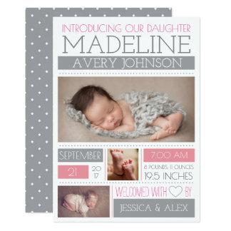 Begrüßte Wunder-Geburts-Mitteilungen 12,7 X 17,8 Cm Einladungskarte