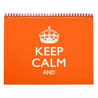 BEHALTEN feste Orange 2018 RUHE UND Ihren Text Kalender