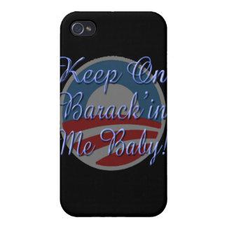 Behalten Sie auf Barrack'in mich Baby! Logo-Skript Etui Fürs iPhone 4